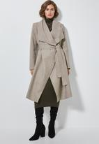 Superbalist - Unlined wrap melton coat - taupe