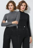 Superbalist - 2 Pack long sleeve high neck bodysuit - grey & white