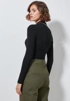 Superbalist - Rib long sleeve bodysuit - black