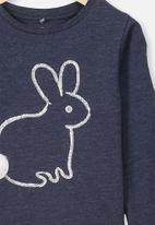 Cotton On - Stevie embellished tee - Indian ink marle/fluffy bunny tail