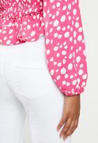 Glamorous - Square neck blouse - pink & white