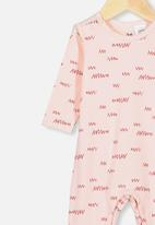 Cotton On - The long sleeve snap romper - crystal pink little scribble