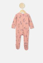 Cotton On - The long sleeve zip romper - clay pigeon floral bunny