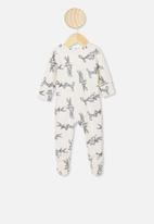 Cotton On - The long sleeve zip romper - vanilla bugs bunny