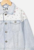 Cotton On - Emmy spliced trucker jacket - blue