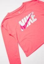 Nike - Nike met nike swoosh long sleeve box t -pink