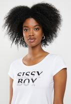 Sissy Boy - Round neck basic with logo - white