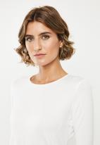 edit - 2pck long sleeve scoop neck tee - white & grey melange