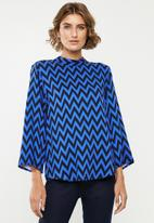 Jacqueline de Yong - Stella long sleeve top - blue & black