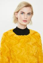 Vero Moda - Curl short faux fur jacket - spicy mustard