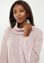 edit - Slouchy cowl neck jumper - pink