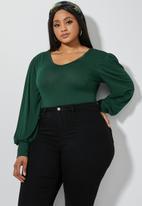 Superbalist - V-neck puff sleeve bodysuit - green