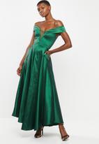 VELVET - Bardot plunge maxi - green