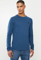 Superdry. - Orange label vintage embroidery top - blue