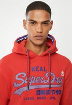 Superdry. - Vintage logo racer hoodie - red
