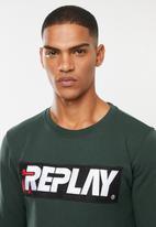 Replay - Center chest logo crew sweat - green