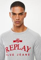 Replay - Replay label crew sweat - grey