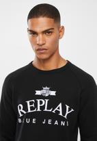 Replay - Replay label crew sweat - black