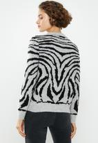 Jacqueline de Yong - Alicia long sleeve jaquard pullover - grey & black