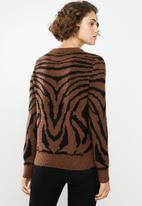 Jacqueline de Yong - Alicia long sleeve jaquard pullover - brown & black