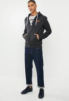 Superdry. - Orange label classic zip hoodie - black