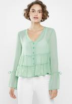 Superbalist - Button-through gypsy blouse - green
