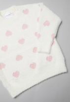 Rebel Republic - Girls heart print jersey - white & pink