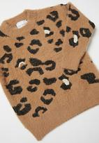 Rebel Republic - Girls animal print jersey - brown & black