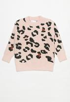 Rebel Republic - Girls animal printed jersey - pink & black