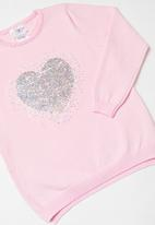 POP CANDY - Sequin heart fine knitwear - pink