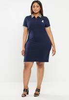 POLO - Plus size Leaha short sleeve golfer dress - navy