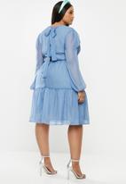 Glamorous - Plus sheer sleeve tiered - blue