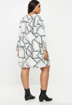 Glamorous - Plus geometric flower tunic - multi