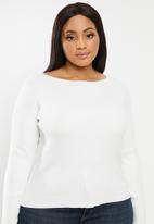 Glamorous - Plus high neck jumper - off white