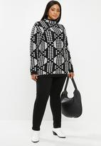 JUNAROSE - Nisa long sleeve pullover - black & white