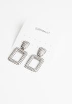Superbalist - Square diamante earrings - silver