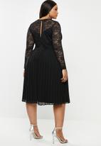 MILLA - Lace pleated dress - black