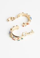 Superbalist - Multi-stone hoop earrings - gold