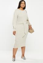 MILLA - Brushed cut & sew midi dress with front tie - neutral