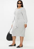 MILLA - Brushed cut & sew midi dress with front tie - grey