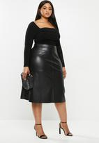 MILLA - Heavy pu a-line midi skirt with panels - black