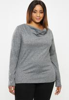 edit Plus - Ll cut & sew cowl neck top - charcoal