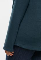 edit Plus - Ll cut & sew cowl neck top - teal