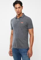 Superdry. - Orange label jersey polo tee - grey