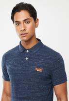 Superdry. - Orange label jersey polo tee - navy