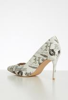 Miss Black - Aboliska heel - white & grey