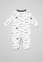POP CANDY - Baby moustache long sleeve babygrow - white & grey