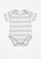 POP CANDY - Stripe baby grow-on - blue & grey