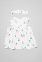 POP CANDY - Strawberry print dress & headband set - white multi