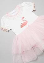 POP CANDY - Flamingo tutu dress - white/pink